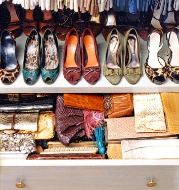 In a closet you can simply put your shoes on a shelf and enjoy them every time you open it.