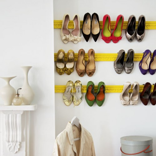 DIY shoe rack made made of ceiling moldings