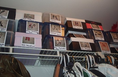 You can use shoe boxes in your closet but just make sure they are labeled right. Photos are the best labels.