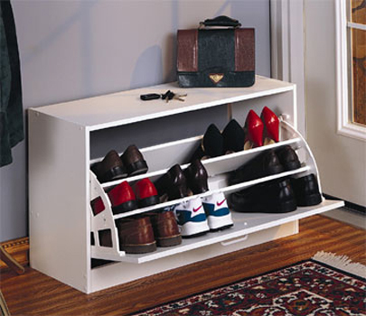 Quite compact idea for a shoe storage cabinet