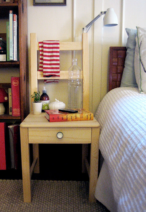 how to turn an ikea chair into a bedside table shelterness