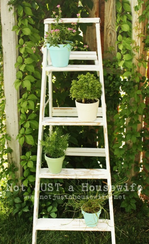 How To Use An Old Ladder As A Plant Stand