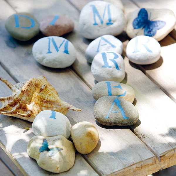 pebbles with letters can be used for various table and garden games or just for decor
