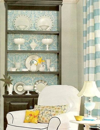 Unique Painted Bookcase With Wallpaper Back