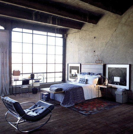 Bare concrete wall might be too much for a bedroom design but not this time.