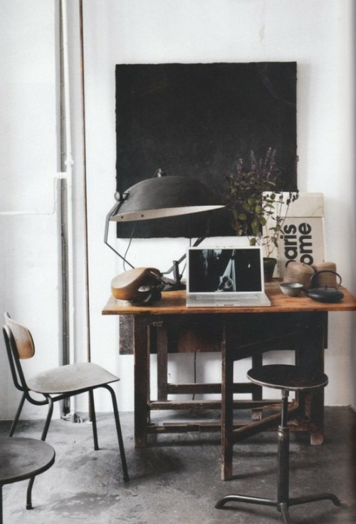 Industiral interior design ideas · a vintage lamp an old wooden desk and a stool from the last century make