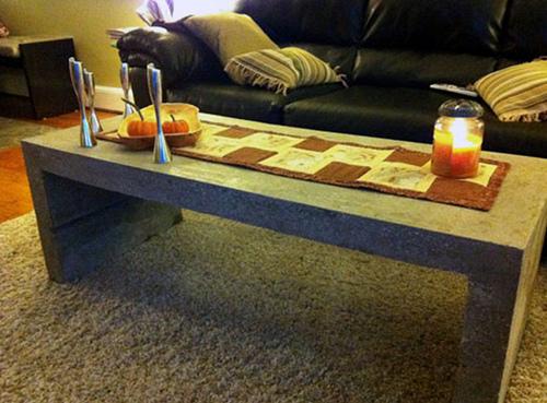 mason concrete coffee table (via diydelray)