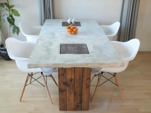 concrete table island (via alewoodfurnitureco)