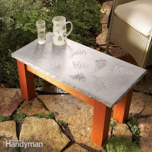 concrete table with a leaf pattern (via familyhandyman)