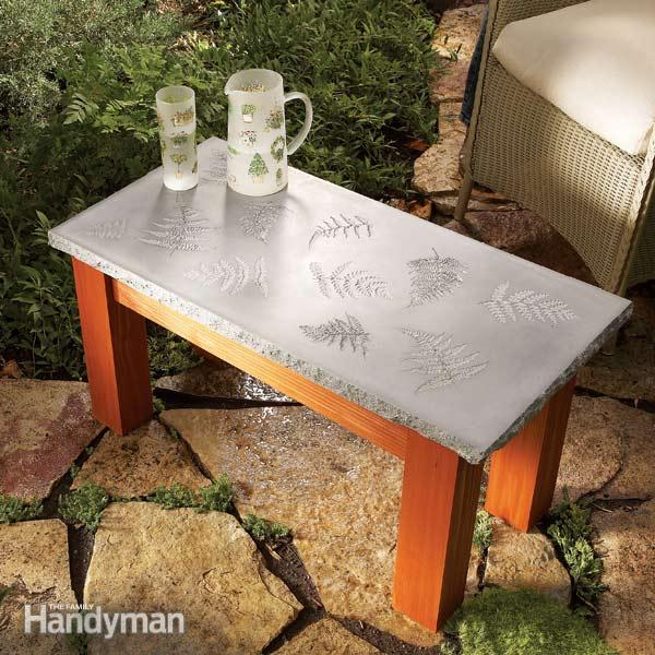 concrete table with a leaf pattern