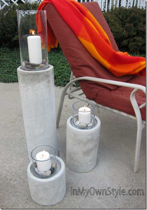 outdoor concrete fire columns (via shelterness)