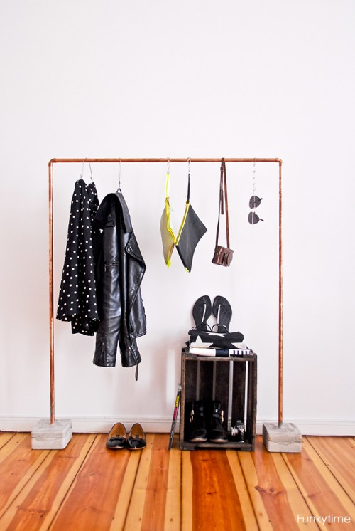 Industrial DIY Copper And Concrete Clothes Rack