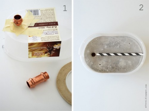 Industrial Diy Lamp Of Concrete And Copper