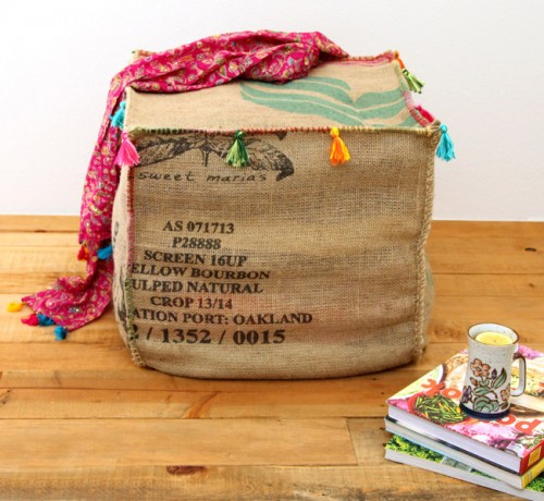 Industrial Inspired DIY Burlap Coffee Bag Ottoman