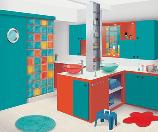 Bright And Colourful Childrenu0027s Bathroom