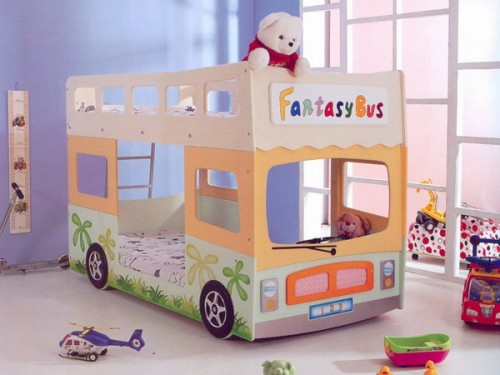Cute bunk bed design shaped like a bus for a shared room.