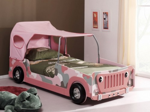 A version of car bed for a girl.