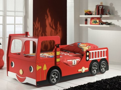 What kid doesn't want to sleep in a firetruck?