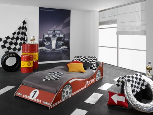 Racing theme is perfect for a boys room design.
