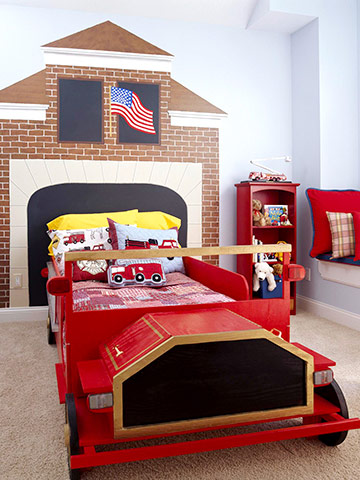 Picture of kids fire truck themed headboard for Fire truck bedroom ideas