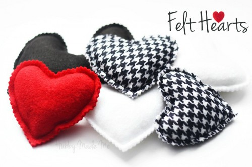 DIY felt hearts (via hubbymademe)
