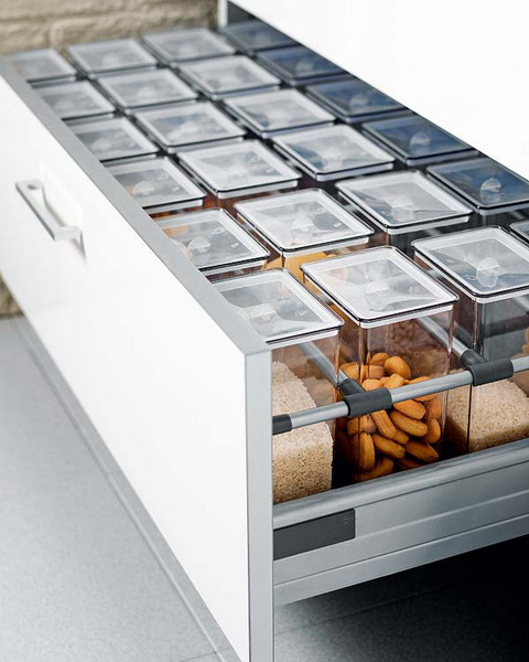 Similar size jars could be used to organize grains and nuts in your drawer.