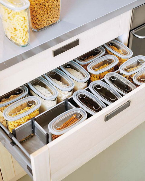 Food containers and simple separators could be used to organize grains and dry pasta.