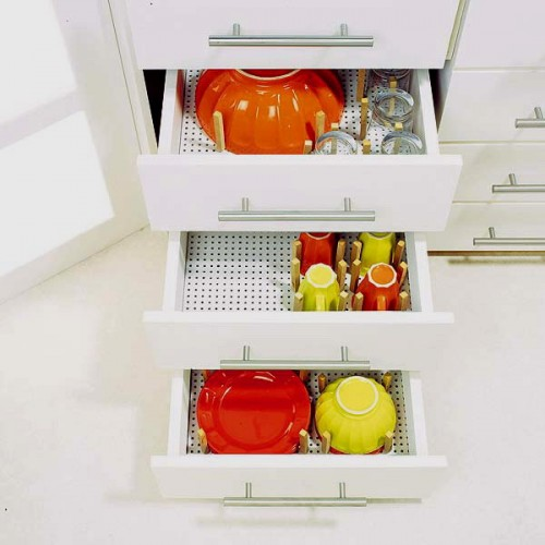 Pegboards could be used as functional drawer organizers.