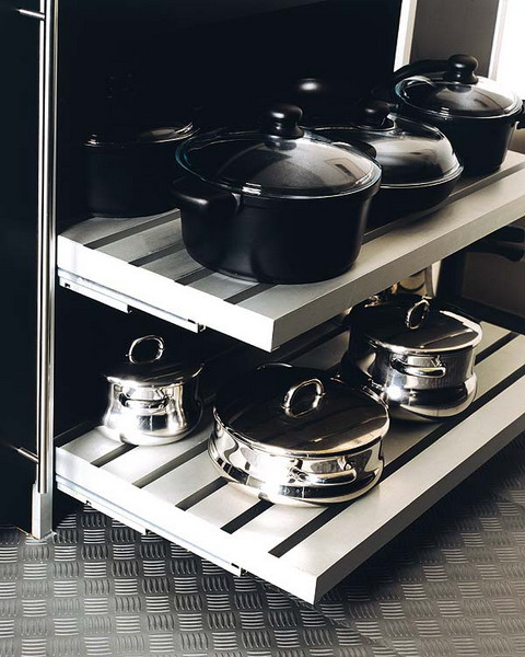 Pull out shelves work well for pans and pots storage.