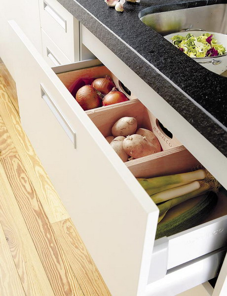 With simple dividers you can store different root veggies on hand.