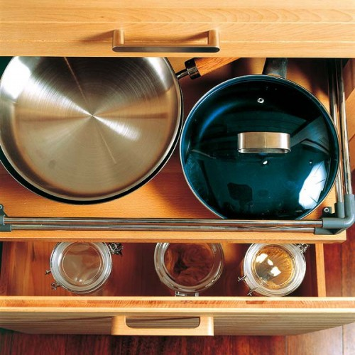 A slim drawer could also be used to store your favorite frying pans.