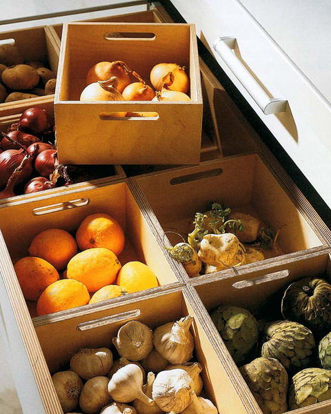 Even crates could help you organize root veggie storage in a drawer.