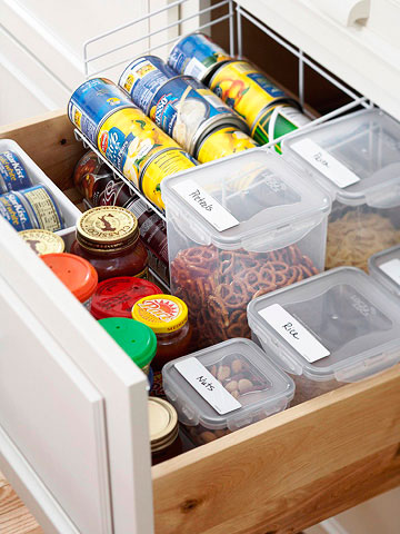 A drawer could become a full functional but small pantry.