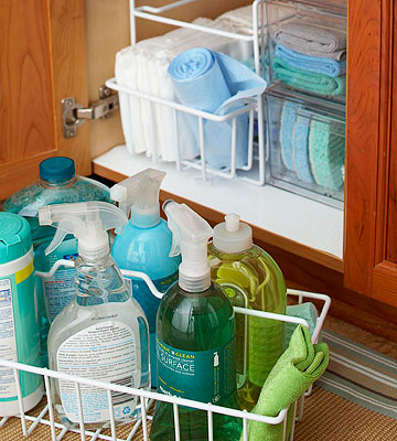 You can put baskets with cleaning supplies in your drawers to make them easy to move.
