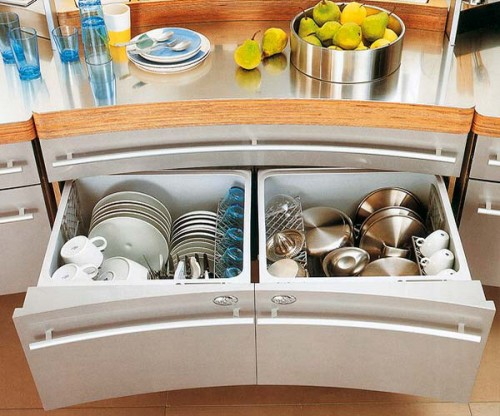Dishes organizer could be used to store them and lids inside large drawers.