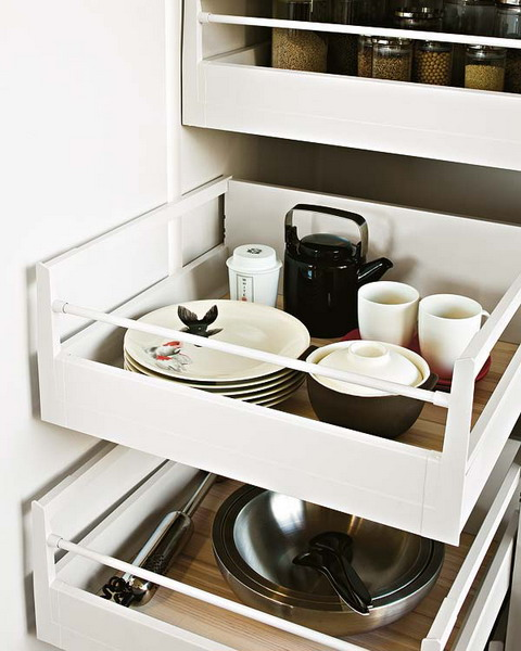 Pull out drawers could be used to store virtually anything.