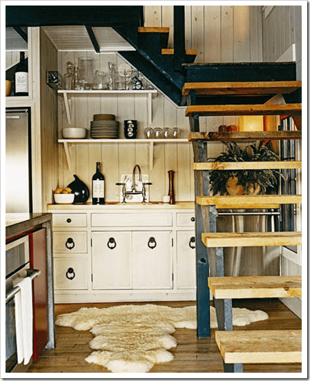 Small Yet Cozy Kitchen Under The Stairs (via bleuepiece)
