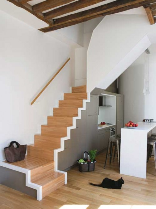 contemporary kitchen under the stairs via shelterness