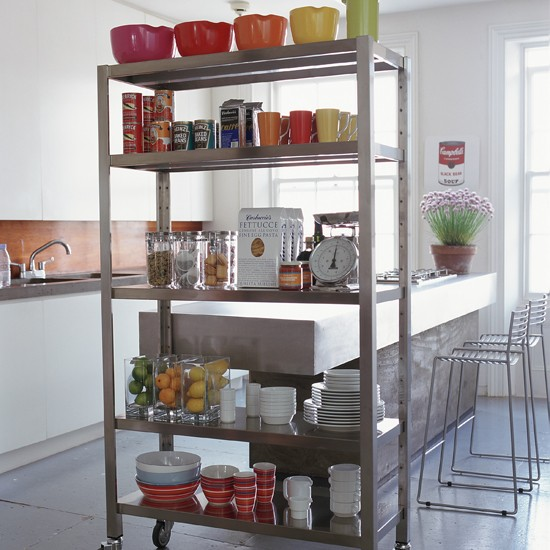 Kitchen With A Room Divider As Extra Storage | Shelterness