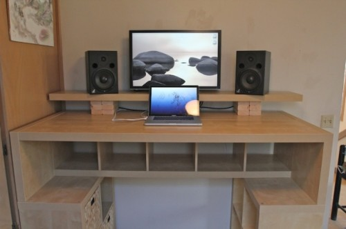 Outstanding Large Diy Standing Desk With Lots Of Storage Space Shelterness Home Interior And Landscaping Elinuenasavecom