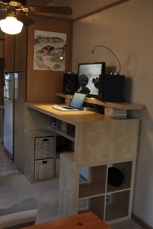 large diy standing desk with lots of storage space