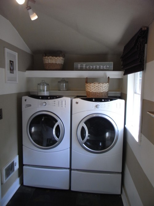 Tight corner could become a nice laundry space if there is enough width to place a dryer and a washer near each other.