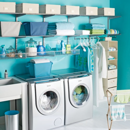 Bright wall make this laundry room anything but dull