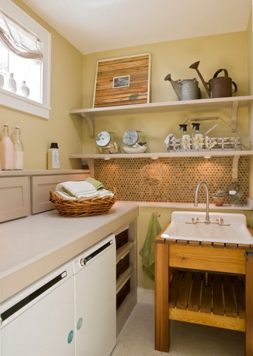 Use some vintage decor to make your laundry space less dull.