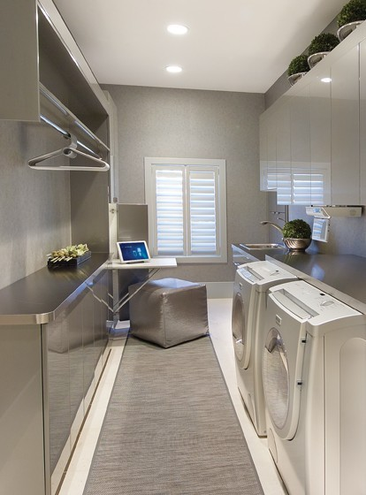 Even a narrow space could be used for a laundry room. Just don't forget about fold down tables.