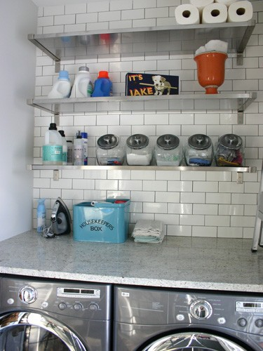 Open shelves work really well in laundry rooms because they can easily occupy tight spaces.