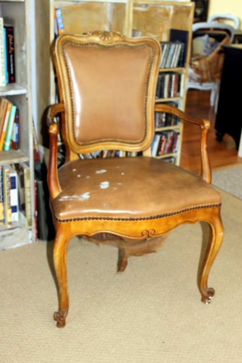 before after how to paint a leather chair shelterness. Black Bedroom Furniture Sets. Home Design Ideas
