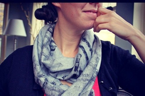 abstract printed scarf (via rhythmofthehome)