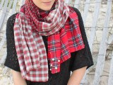 checked shirt scarf