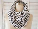 polka dot black and white scarf